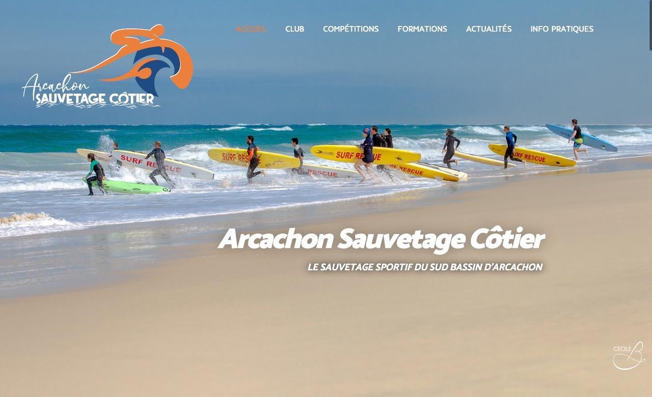 Page d'accueil du site Arcachon Sauvetage Côtier